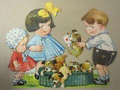 VINTAGE VALENTINE MECHANICAL VALENTINE PUPPIES KIDS ENVELOPE | #243130063