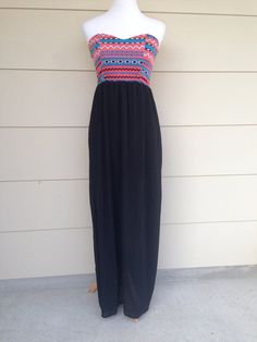 Women's Aztec Maxi Dress Strapless Tribal Print Sweetheart Top with black bottom maxi dress Large by decorplace. Explore more products on http://decorplace.etsy.com