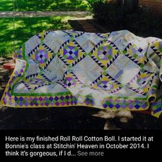 This is Grace's finished Roll Roll Cotton Boll from my book String Fling! Didn't she do a beautiful job? I just love her colors! Signed copies of books are available on my website at http://quiltville.com #quilt #quilting #patchwork #quiltville #bonniekhunter #quiltsbyyou