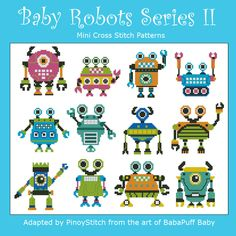 Baby Robots Series II Minis Cross Stitch PDF Chart by PinoyStitch