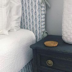"""Lovely headboard in our """"Sarah"""" fabric! (Design by: ) Relax, Beach Bungalows, Little Girl Rooms, Nightstand, Bedroom, Table, Furniture, Instagram, Home Decor"""