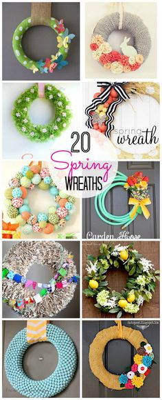 20 Bright and Colorful Spring Wreaths to make! Such awesome ideas! -- Tatertots and Jello