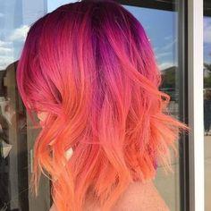 50 Magenta hair color Ideas for brave women - Short Hair - Hair Magenta Hair Colors, Hair Dye Colors, Cool Hair Color, Purple Hair, Pink And Orange Hair, Rainbow Hair Colors, Pink Peach Hair, Black Blue Ombre Hair, Pink Color