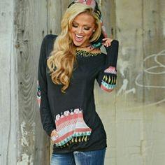 Pattern Hoodie! Brand New!! Tops Sweatshirts & Hoodies