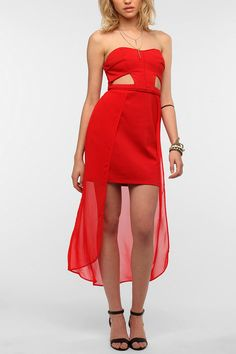 Silence & Noise Strapless Cutout Overlay Dress #urbanoutfitters