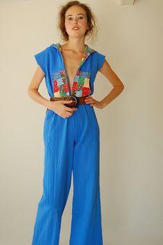 15c56c349be Hippie Gauze Jumpsuit Vintage 60s 70s Blue Gauze by enidandedgar Hippie  Boho