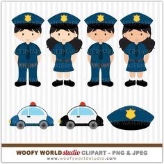 Police Kid Clipart INSTANT DOWNLOAD Digital by WoofyWorldStudio