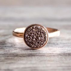 Rose Gold with Rose Gold Druzy Quartz Ring || Available in our 'Gems and Stones' Collection || www.indieandharper.com
