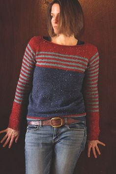Ravello by Isabell Kraemernotes on myso-calledhandmadelife:color combo and jogless stripe technique, sleeves, knitting striped sleeves two at a time without losing my mind, and finished! Knitting Machine Patterns, Knitting Stitches, Hand Knitting, Knitting Patterns, Knitwear, Knit Crochet, Sweaters, Clothes, Oct 11