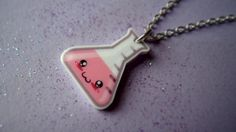 Kawaii Pink Chemistry Conical Flask Necklace by OneNineSix on Etsy, . Chemistry Gifts, Flask, Dog Tag Necklace, Wonderland, Kawaii, Personalized Items, Trending Outfits, Unique Jewelry, Handmade Gifts