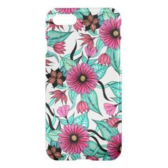 Girly Pink and Teal Watercolor Floral Illustration iPhone 8/7 Case - girly gifts special unique gift idea custom