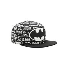 DC Comics Batman Logo Collage Snapback Hat   Hot Topic ($19) ❤ liked on Polyvore featuring accessories, hats, black snapback, snap back hats, black hat, logo hats and snapback hats