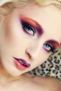 Wow! Gorgeous colorful makeup - purple orange red