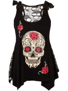 Designed Round Neck Bowknot Patchwork Lace Printed Sleeveless T-Shirt