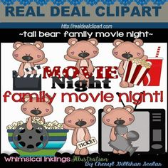 Tall Bear Family Movie Night - Cheryl Seslar Clip Art