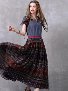 Folk Denim O-Neck Short Sleeve Big Hem Print Maxi Dress