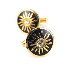 Prepracované zlaté manžety v kruhovom tvare s kryštáľom