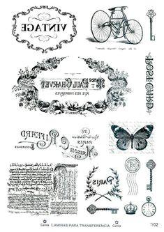 Tin Can Crafts, Diy Arts And Crafts, Paper Crafts, Foto Transfer, Transfer Paper, Images Vintage, French Vintage, Printable Labels, Printables