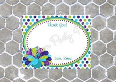 Peacock Thank You Cards by CustomParty4U on Etsy