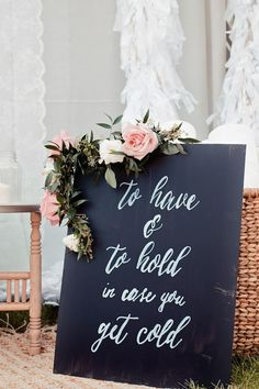 """To have and to hold in case you get cold"" blankets as favors at a winter wedding"