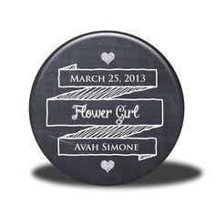 PERSONALIZED Flower Girl Gift - Mirror, Magnet, Bottle Opener or Pin - Chalkboard. $5.00, via Etsy.