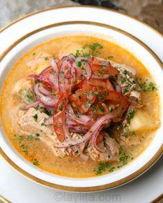 Ecuadorian fish encebollado soup.  This was one of my favorite breakfasts in Ecuador.