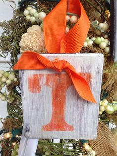 Handmade Hand Painted Christmas Ornaments: University of Tennessee Volunteers… Orange Christmas Tree, Christmas Colors, Christmas Crafts, Christmas Decorations, Holiday Decor, 2x4 Crafts, Easy Crafts, Diy And Crafts, Football Crafts