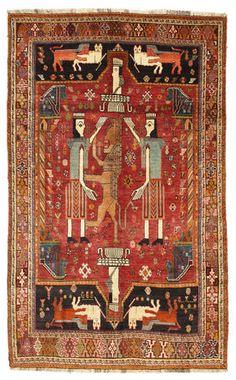 Qashqai pictorial carpet with lion