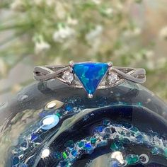 Blue Opal Triangle Ring With Cubic Zirconia