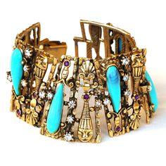 Selro Bracelet Gold Figural by EmbellishgirlVintage on Etsy, $325.00
