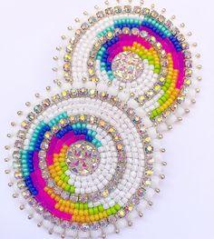 (Sold) Last wave 🌊 earrings for awhile. 🌼✨ #beadedearrings Beaded Brooch, Beaded Earrings, Beaded Jewelry, Jewellery, Native Beadwork, Native American Beadwork, Jingle Dress Dancer, Beadwork Designs, Bead Sewing