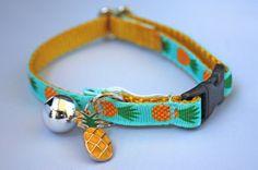 Collar de gato de piña de CaitandCo en Etsy https://www.etsy.com/es/listing/387120306/collar-de-gato-de-pina