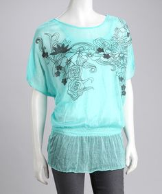 Take a look at this Turquoise Floral Layered Peasant Top by Life and Style Fashions on #zulily today!
