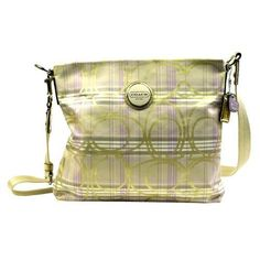 Coach Signature Plaid File Bag is made in spring colors with zippered top and lined interior. Long strap makes it possible to be used for,fashion coach bags coming,just $44.99