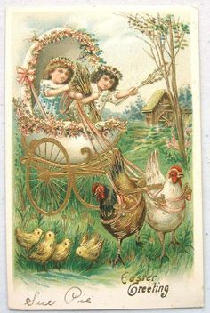 Exceptional Fantasy Easter Girls in Egg Carriage Drawn by Hens Emb Gold   eBay