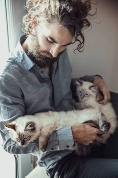 Hot guys with beards with cats. I've died and gone to heaven. Those two kittens are so precious!