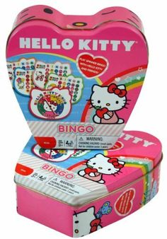 Hello Kitty Bingo in Heart Shaped Tin Hello Kitty Games, Hello Kitty Clothes, Bingo Cage, Bingo Set, Bingo Board, Classic Board Games, Fist Bump, Sanrio, Little Ones
