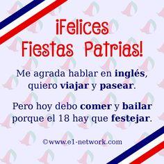 ¡Feliz 18! 🎉🎊 #tikitikiti #FiestasPatrias #chile #18Sept #septiembre #ingles #viajar #pasear #comer #bailar #festejar Chile, Map, Happy, Frases, September, Traveling, Studio, Funny, Chili Powder