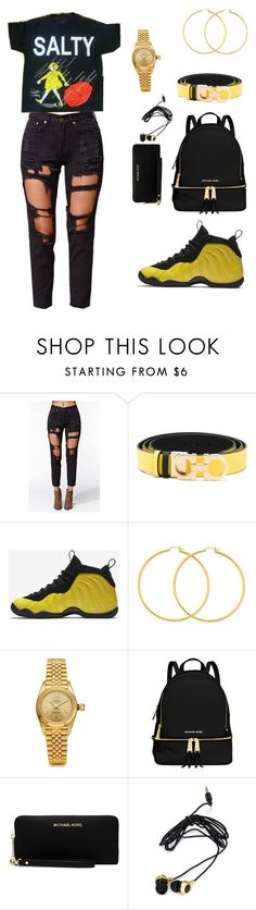 """""""Untitled #637"""" by msnh ❤ liked on Polyvore featuring Reverse, Salvatore Ferragamo, NIKE, Rolex, MICHAEL Michael Kors and Forever 21 #schooloutfits"""