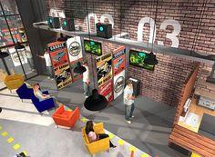 VR, la salle d'arcade entre dans une nouvelle dimension - Connaissant un essor fulgurant, la réalité virtuelle ouvre un incroyable champ de nouvelles expériences, inaccessibles depuis chez soi... Déjà un succès au Japon et en Amérique du Nord, la salle ... Game Room Design, Lounge Design, Maze Design, Booth Design, Vr Room, Gaming Lounge, Gaming Center, Game Cafe, Game Room Basement