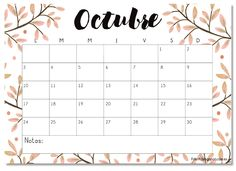 Calendario imprimible octubre 2016 - #printable