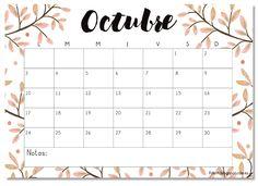Calendario imprimible octubre 2016 - #printable
