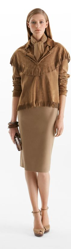 Pre-Fall 2015: The Ralph Lauren Collection suede fringed shirt features tonal lacing and fringed trim. Wear it with a tailored pant or a sleek pencil skirt for a chic, eclectic look.