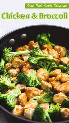 """This One Pot Keto Sesame Chicken and Broccoli is easy to make, only calls for inexpensive, real food ingredients, and best f all, it only dirties one pan."" One Pot Keto Sesame Chicken and Broccoli – You must try this recipe.  #keto #ketodiet #ketorecipes #ketogenic #ketogenicdiet #ketogenicrecipes #lowcarb #lowcarbrecipes"
