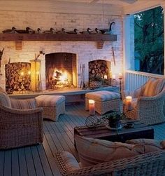 outdoor porch fireplace hearth