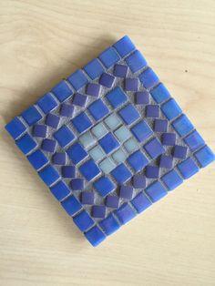 Mosaic Coasters Set of 4 Handmade Blues by gcbmosaics on Etsy
