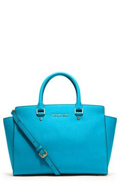 Obsessed with all these bright colored bags right now! MICHAEL Michael Kors 'Selma - Large' Leather Satchel available at #Nordstrom