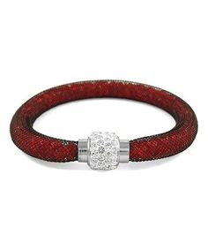 Look what I found on #zulily! Austrian Crystal & Red Mesh Bracelet #zulilyfinds