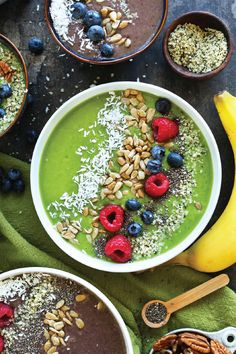 Start the day off with a healthy and protein-packed Super Green Smoothie Bowl. Made with raspberries, bananas, strawberries, and kale, this delicious breakfast option is totally bladder-friendly. Don't forget to skip the toppings—granola and shaved coconut are great options. It's so refreshing and will keep you energized all morning long!