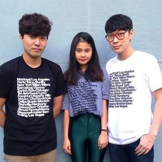 American Apparel employees from Seoul wearing limited edition city print t-shirts. Shop all printed shirts here!